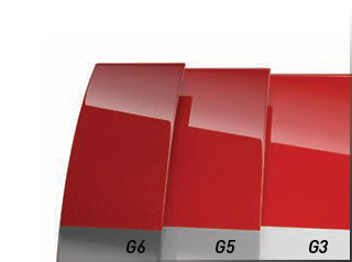 Visual representation of the G3, G5 and G6 spectral gray shades under a translucent red color.