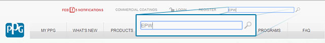 "Search example - Entering ""EPW"" into the global site search."